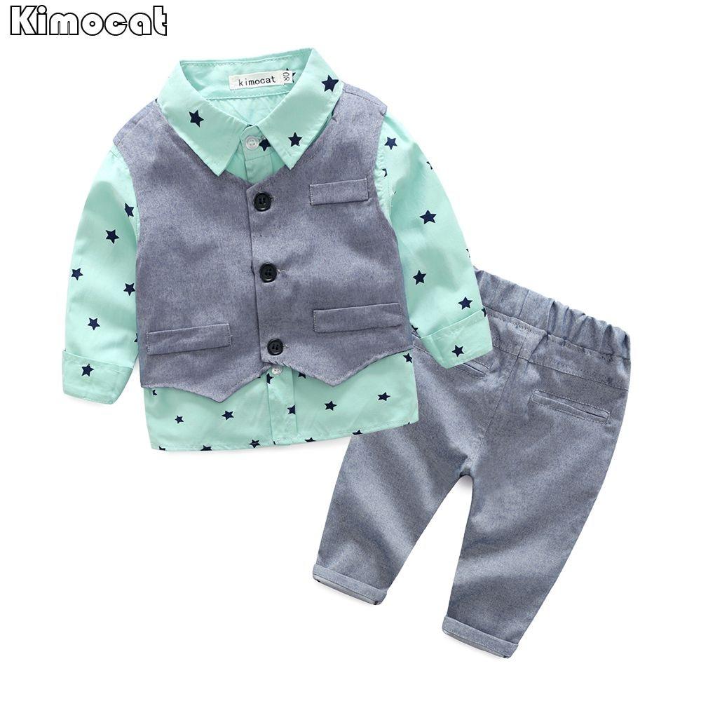 5e89428f18ca8 2017 Spring Baby Boy gentleman suit shirt + overalls 2pcs long ...