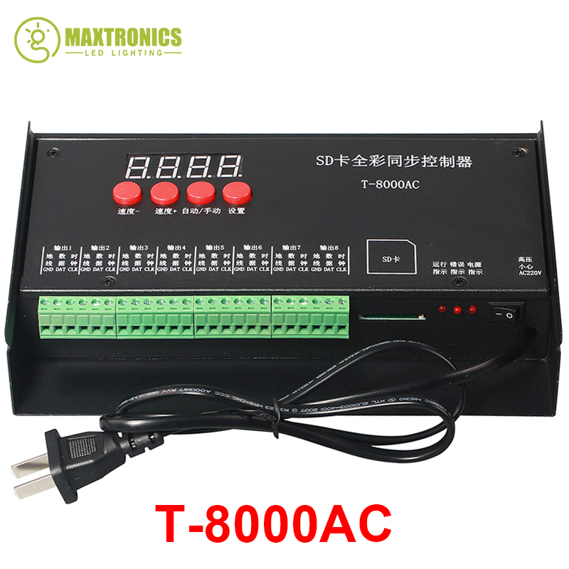 2017 high quality T8000 AC110-240V SD Card Pixel Controller for WS2801 WS2811 LPD8806 MAX 8192 Pixels DC5V купить в Москве 2019
