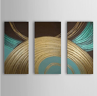 3 Piece Hand Painted CanvasOil Painting Abstract Circle Set of 3 Canvas Wall Pictures for Living Rooms