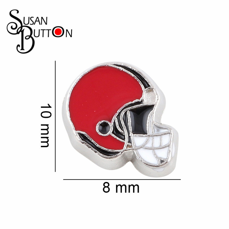 20pcs/lot Newest Sport Team Floating Locket Charms Red Enamel Football Helmet Charms for Glass Lockets SJFC4012