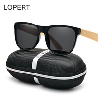 LOPERT Square Wood Polarized Sunglasses Men Women Bamboo Sun Glasses Brand Design High Guality Glasses For