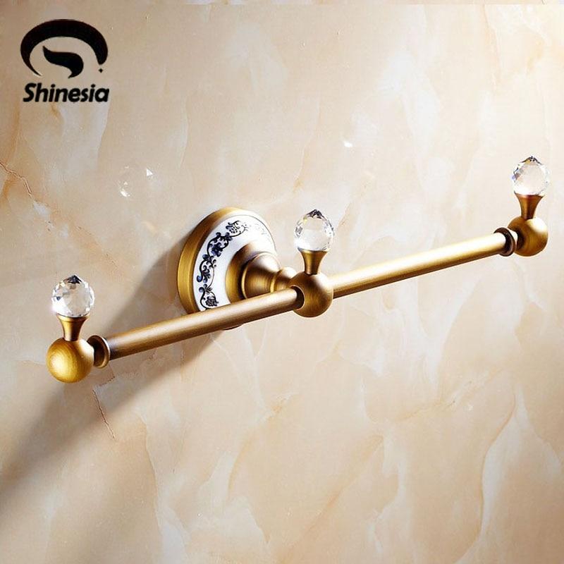 Newly Wall Mount Towel Bar Chrome Finish Bathroom Towel Rack Holder Euro Style Ceramics Base Crystal Ball Towel Shelf стоимость