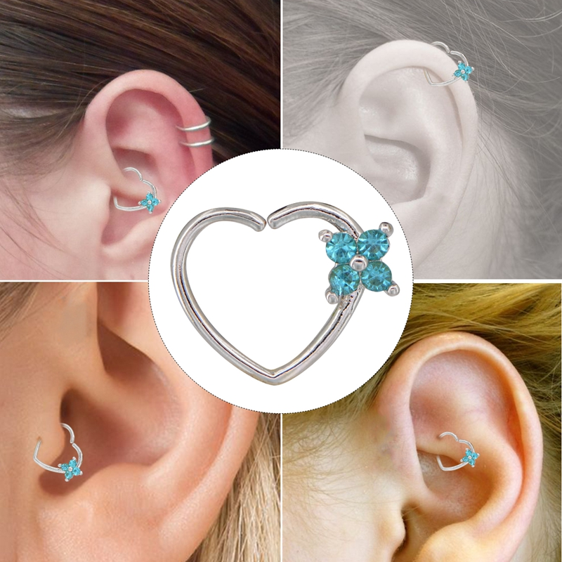 Responsible Body Punk Piercing Ear Cartilage Heart Right Closure Daith Cartil Tragus Hinged Segment Ring Body Jewelry Earrings 16 Gauge Ring Jewelry Sets & More