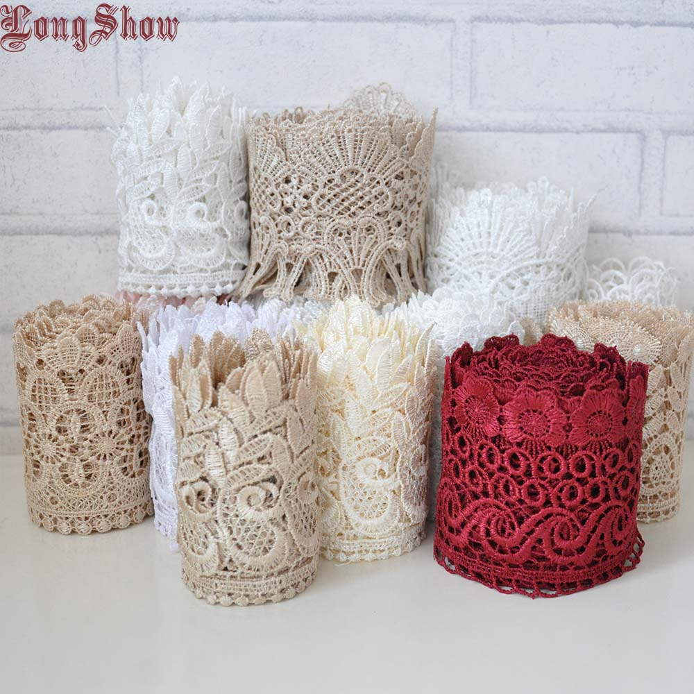 3Yards 2-10cm Wide Pure Polyester Light Coffee White Water Soluble Embroidered Lace Trim