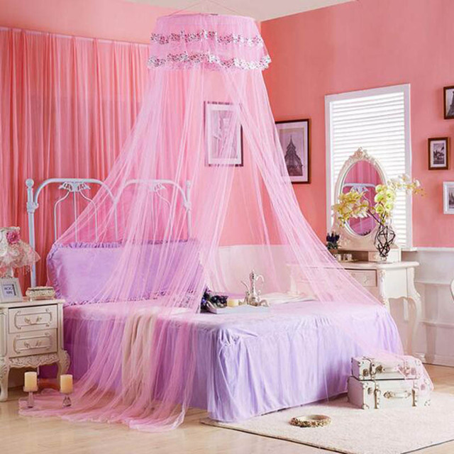 Princess Romantic Mosquito Nets Curtains Bed Canopy Cibinlik Circular Tent Single-door nets Mosquiteros para & Princess Romantic Mosquito Nets Curtains Bed Canopy Cibinlik ...