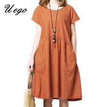 Uego Short Sleeve Soft Cotton Linen Loose Summer Dress Plus Size Women Casual Dress 2021 New Arrival Lady Dress Female vestidos