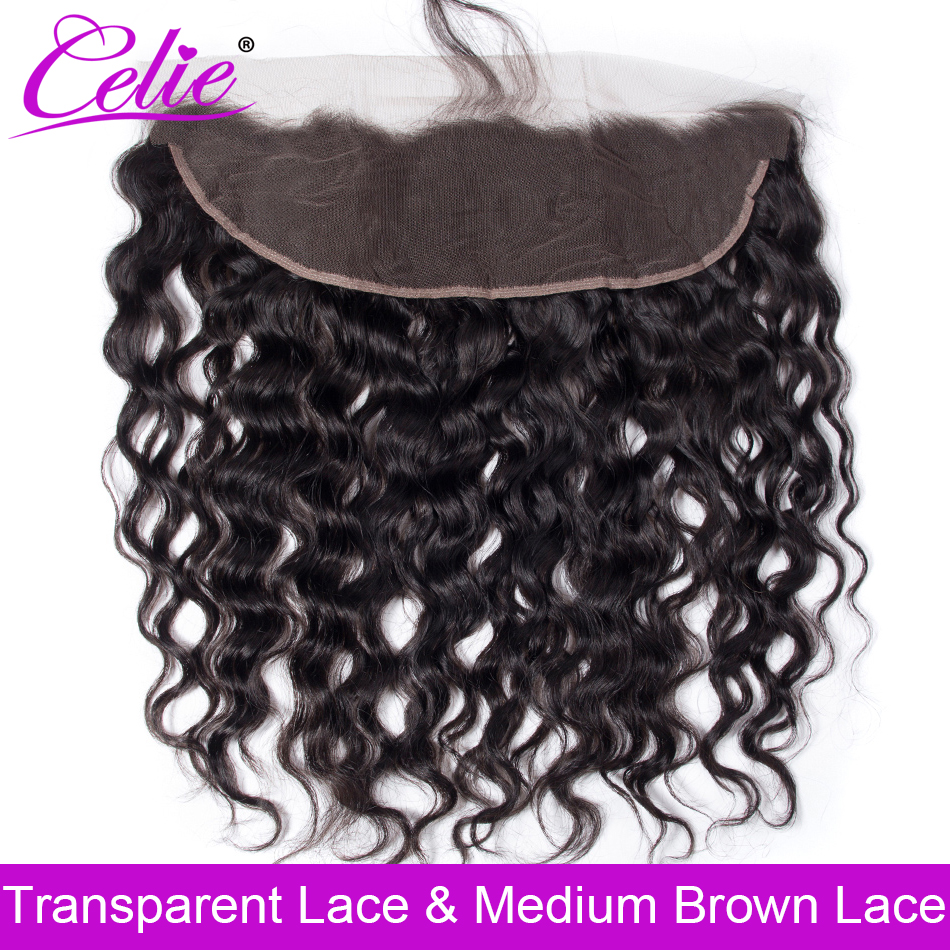 Celie Brazilian Water Wave HD Frontal Closure Pre Plucked Transparent Swiss Lace Frontal Closure Ear To Ear Human Hair Frontal
