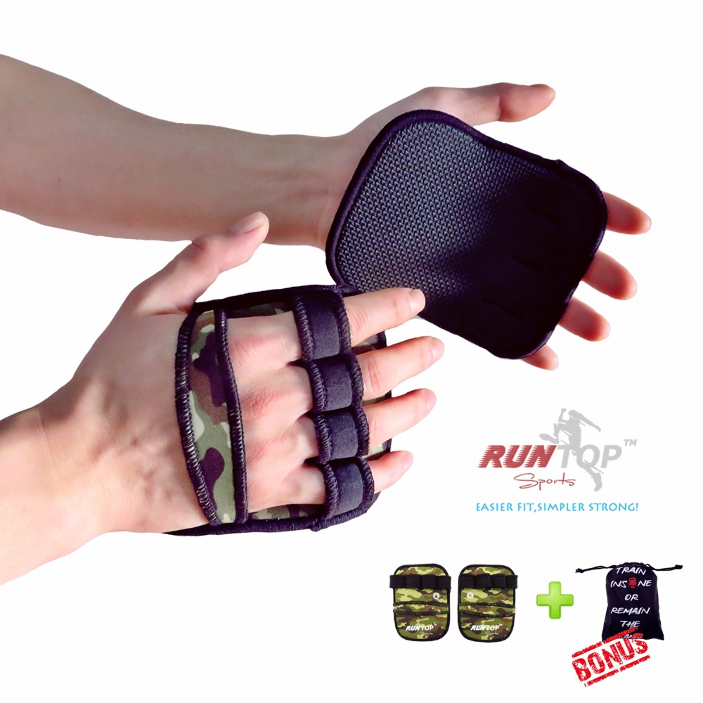 RUNTOP 6mm svara celšanas PULL UP roktura uzlikas Cimdi Crossfit Workout GYM treniņu treniņš Fitness Powerlifting Palm Hand Protect