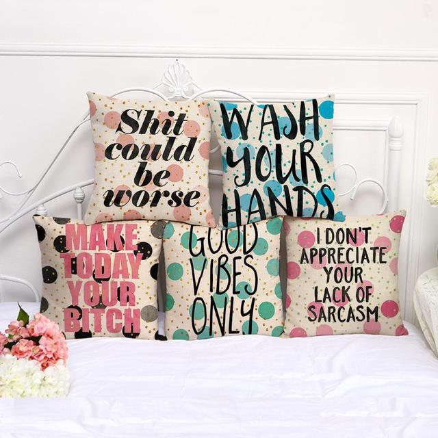 Factory Direct Supply Cartoon Wave Letters Printed Decorative Throw Pillow  Home Sofa Chair Cushion For Kids