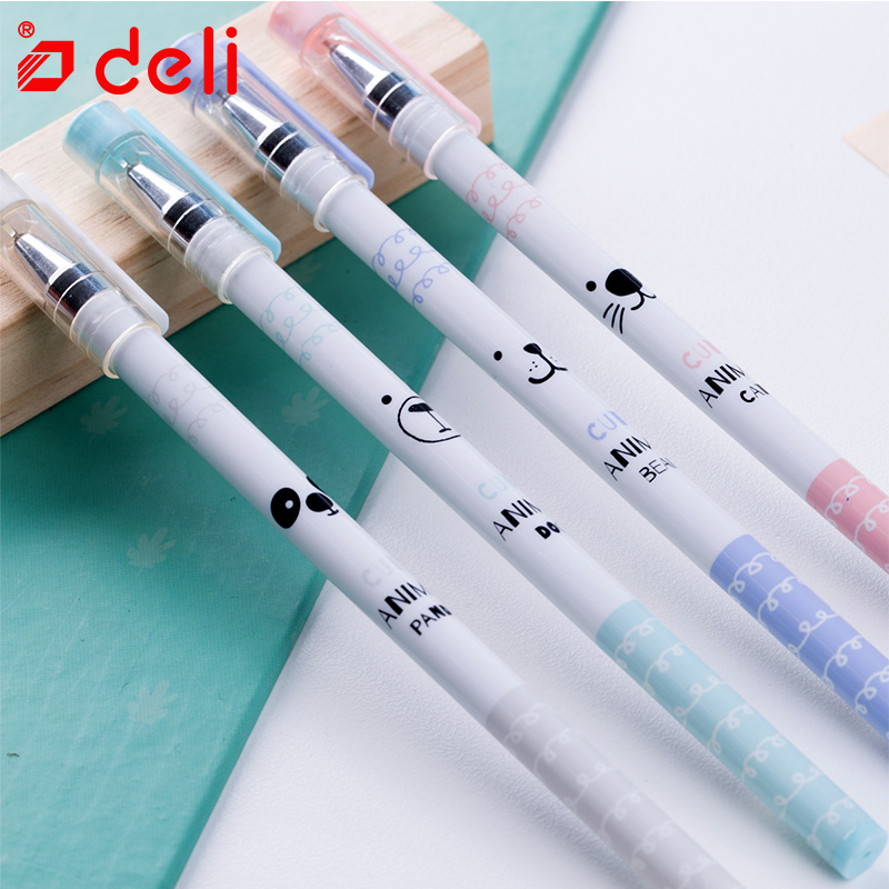 Deli 12pcs gel pen school supplies cute 0.35/0.5mm gel-ink pen writing tools black ink color creative stationery student pen gel 0 38mm gel ink pen m