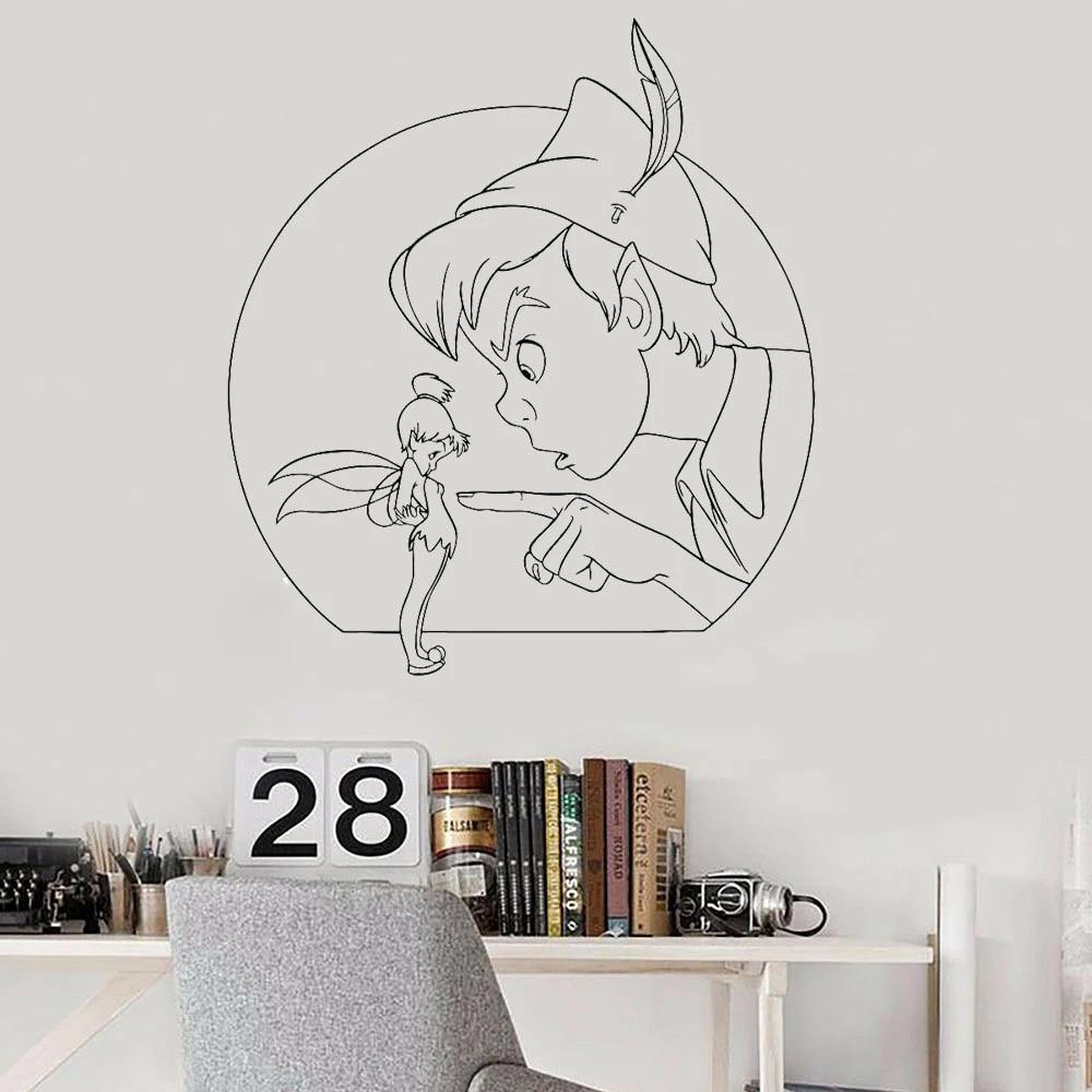 Bedroom Decoration Peter Pan Wall Stickers Home Decor Fairy Magic Wall Decals Cartoon Playroom Sticker B624 Wall Stickers Aliexpress