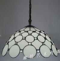 Подвесная лампа Tiffanylamp  Корейская  белая  для ресторана  кухни  цвета стекла  ручная сварка  30 см