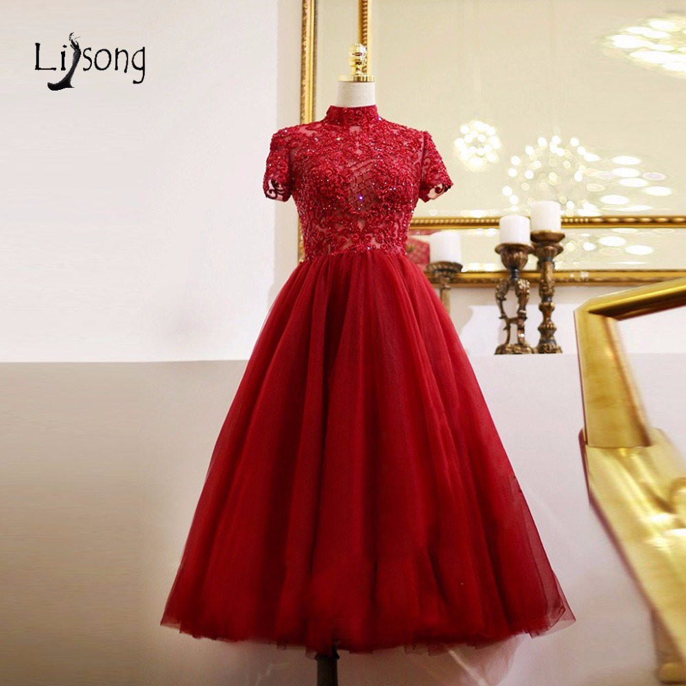 Modest Hot Red Lace Tea Length Evening Dresses 2018 Shiny Beaded Crystal Evening Gowns High Collar