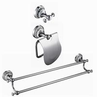 Free Shipping bathroom hardware set Solid Brass ceramic Chrome ,Robe hook,Paper Holder,double Towel Bar 3 pcs DB002