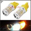 2pcs Amber Yellow 7443 7440 T20 7444NA LED Bulbs w/ Reflector Mirror Design For car Turn Signal Lights, Daytime Running Lights