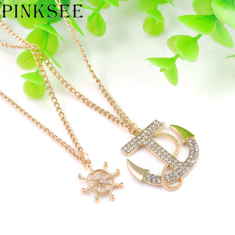 PINKSEE 1 Pc Cross Necklace Fashion Anchor Type Crystal Rhinestone Double Chain Long Chains Sweater Jewelry
