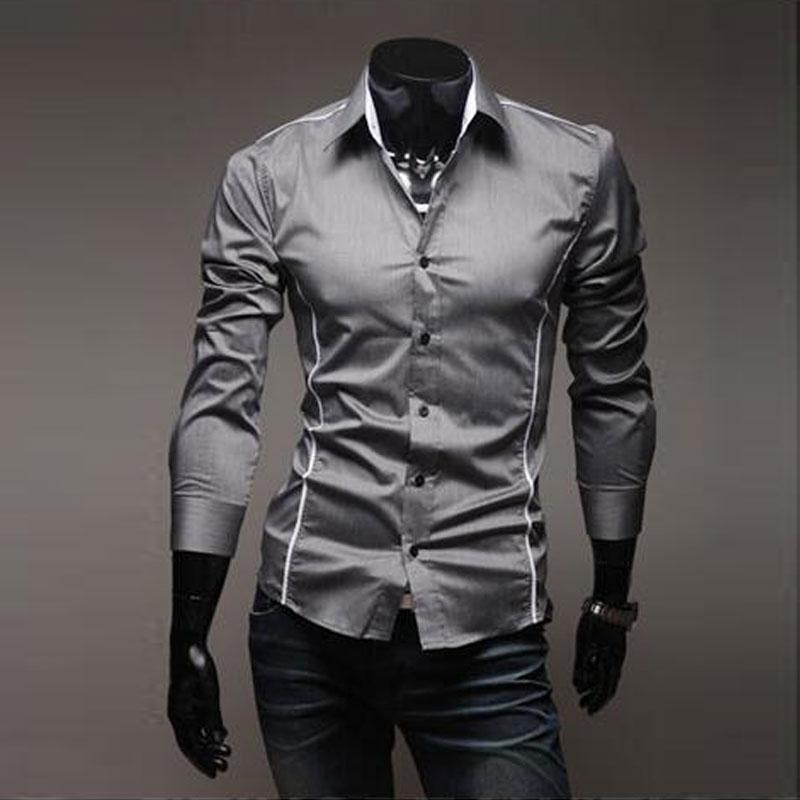 c886946e0e 2018 nueva llegada perfecta recortada rayas hombres casual Camisa de manga  larga moda blanco vestido frontera camisa masculina hombres camisa