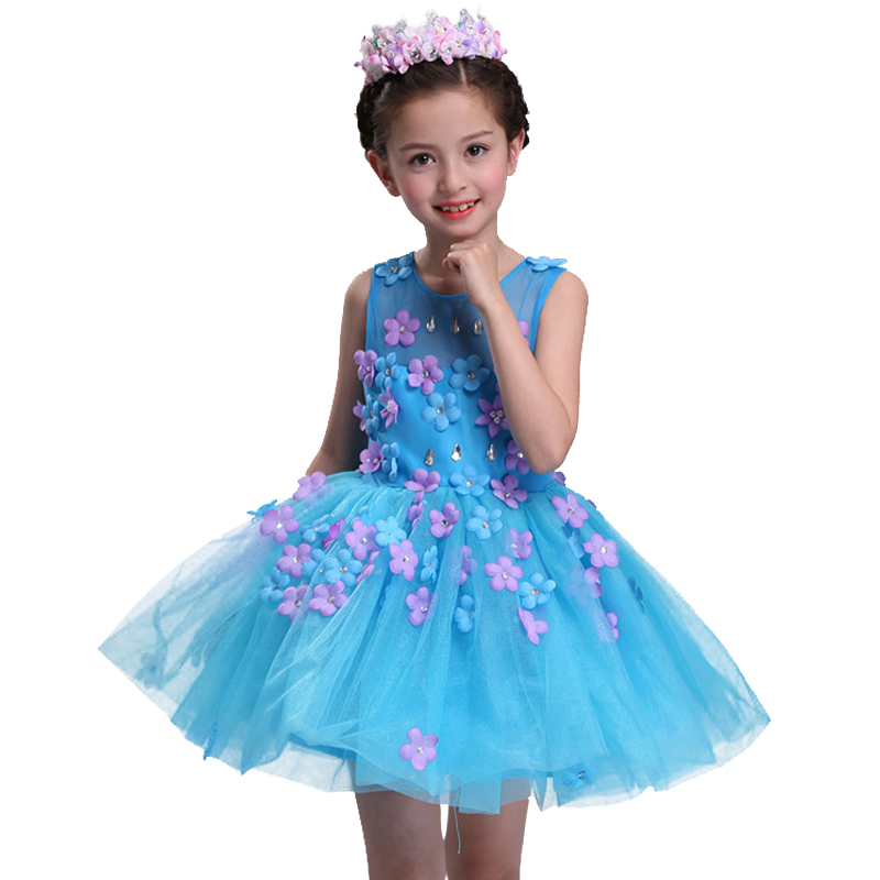 New summer baby girl Clothes print flower girl dress for wedding girls party dress with bow dress 7