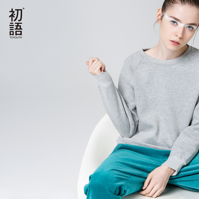 Toyouth Casual Sweatshirt Women 2019 Autumn Long Sleeve Solid Color Basic Pullovers Tops Female All-Match Hoodies