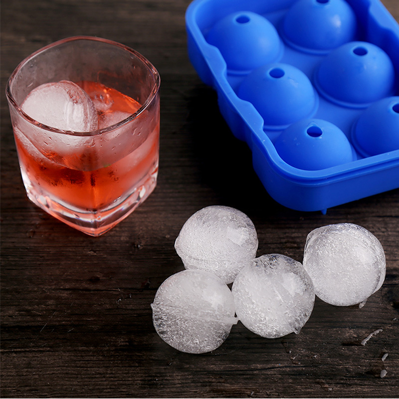 Large Round Ice Ball Maker 6 Holes Silicone Ice Cube Tray Mold Bar Party Whiskey Ice Mold Silicone Sphere shaped Ice Cube Maker (6)