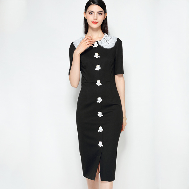 Xiangshi New 2018 Summer Fashion Runway Midi Dress Womens Lace Peter Pan Collar Elegant Angel Button Vintage Black Dress