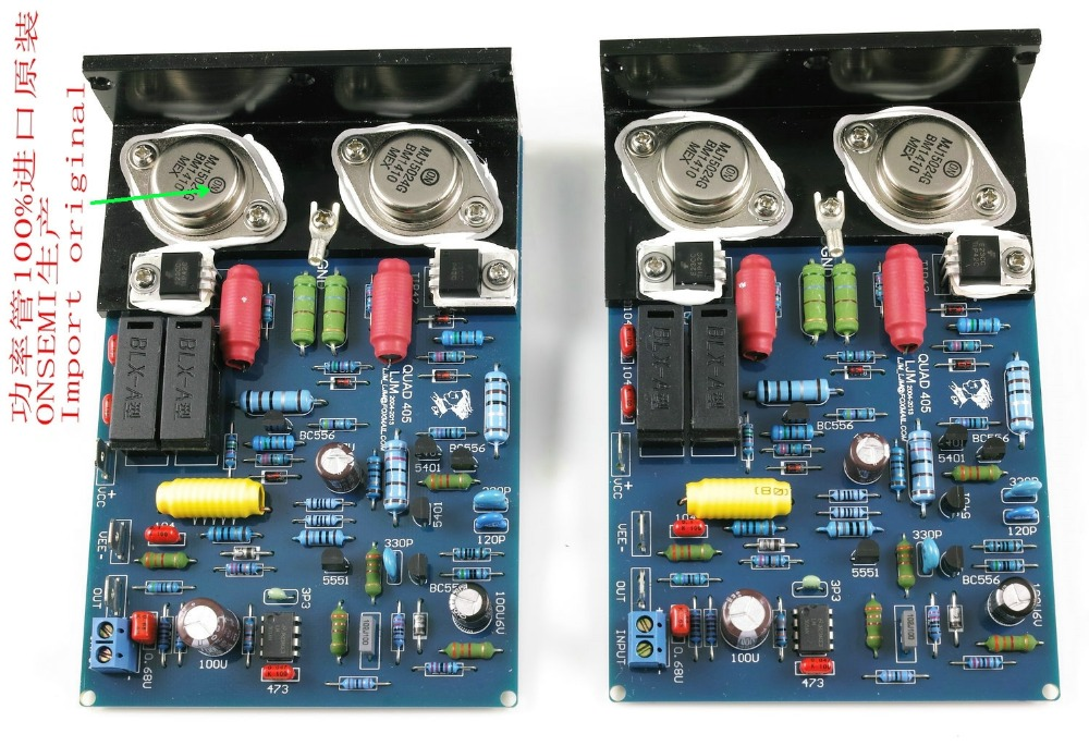 2 PCS Gold Sealed QUAD405 CLONE Power Amplifier PCB MJ15024 2 Channel 80-100W