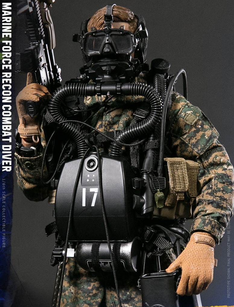 1:6 scale DAM TOYS 78055 MARINE FORCE RECON COMBAT DIVER WOODLAND MARPAT ready