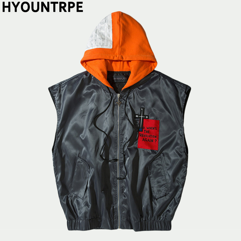 Hip Cargo Sweat Manches Gilet Hommes Sans Capuche Zipper Hop Mode orange Large Veste Militaire Noir Tactique Hoodies De gris Épaule À 11rTqSw