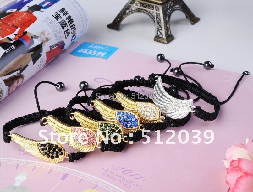 Gift Items For Womens Part - 47: New Fashion Crystal Jewelry Cute Angel Wings Rhinestone Charm DIY Connector  Bracelet Nice Gift For Women