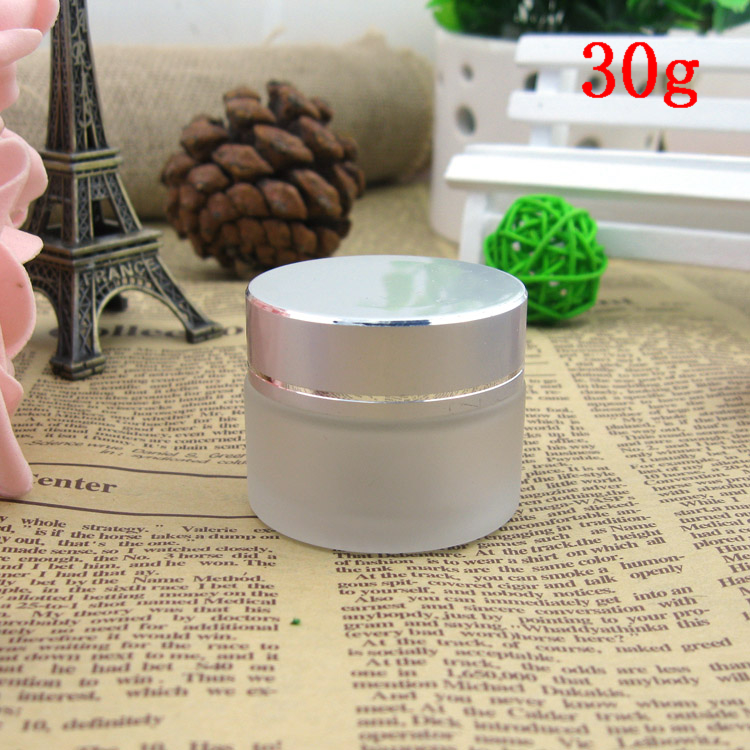free shipping 30g frosted glass jars, 30ml frost cream jars, skin care cream bottles, 1 fl oz glass cosmetic containers