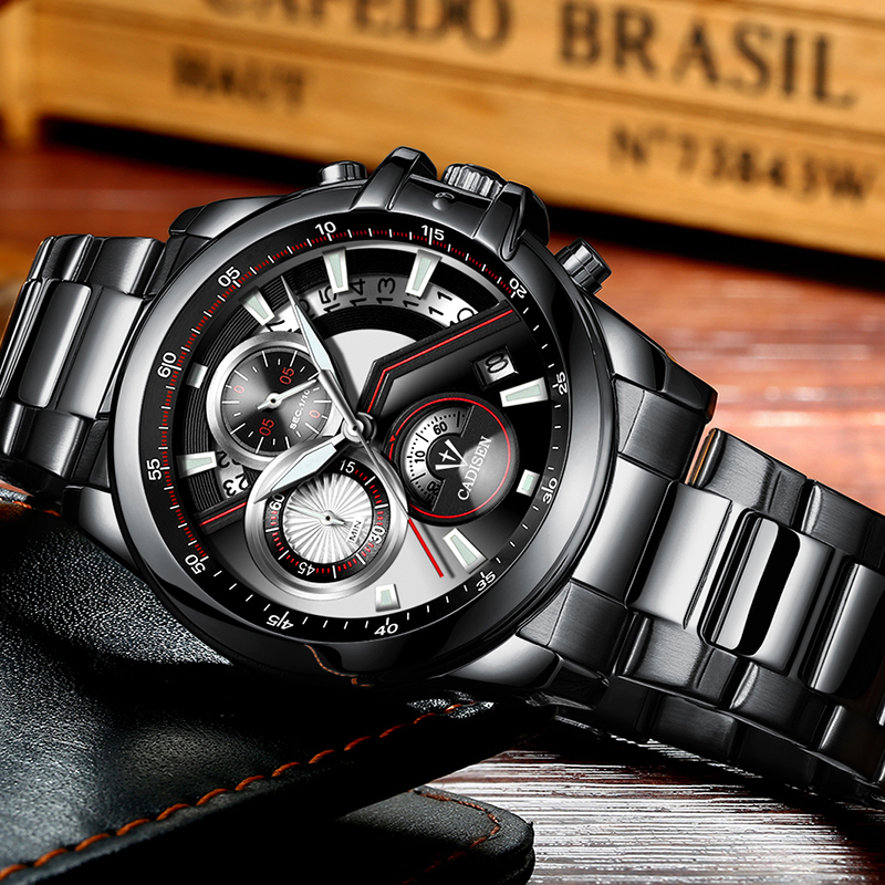 Watch Men Top Brand Luxury Military Army Sports Casual Waterproof Mens Watches Quartz Stainless Steel Wristwatch CADISEN 2019 in Quartz Watches from Watches