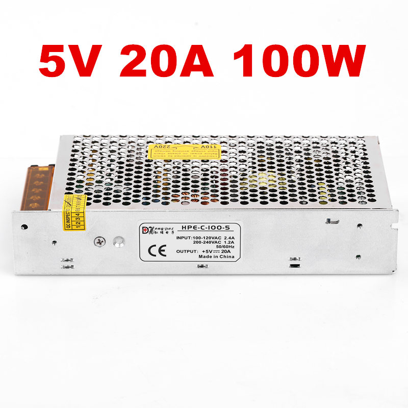 1PCS 100W 5V Power Supply 5V 20A AC-DC 110/230VAC DC5V LED driver  S-100-5