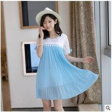Summer Chiffon Maternity Clothes Pleated Big Hem Dress For Pregnant Women Embroidery Hollow Pattern Purple Blue Red A-Line Dress