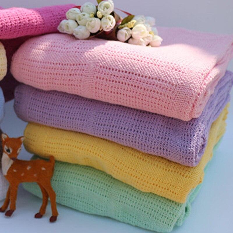 Couvertures bébé 120*150 CM 100% coton bébé couverture enveloppantes Crochet tricoté bébé couvertures nouveau-né cobertor bebe mantas para Z