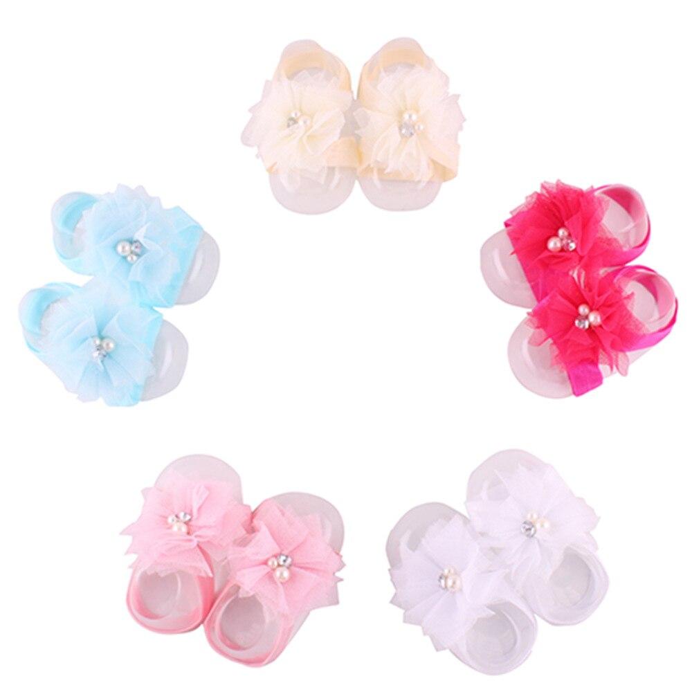 2017 Hooyi Flower Pearl Baby Girls Foot Accessories Newborn Shoe Wristband Elastic Hair Socks Chiffon Boy Slipper F4