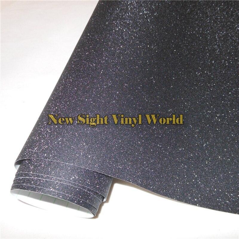 Haute qualité noir paillettes paillettes sable vinyle Film rouleau enveloppe Air libre téléphone ordinateur portable couverture de la peau taille: 1.52*30 M/Roll