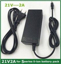 21v2a شاحن بطارية ليثيوم 5 سلسلة 100 240 فولت 21 فولت 2A شاحن بطارية لبطارية ليثيوم مع مصباح ليد يظهر تهمة الدولة