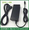 Carregador de bateria de lítio 21v2a 5 Série 100-240 V 21 V 2A carregador de bateria para bateria de lítio com LED luz mostra o estado de carga