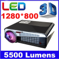 5500 Lúmenes de Cine En Casa 1280x800 PC Multimedia TV 1080 P HD Video 3D HDMI USB LCD Portátil LED proyector proyector led86 +