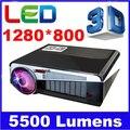 5500 Lumens Home Theater PC 1280x800 Multimedia TV 1080 P HD 3D De Vídeo HDMI USB LCD Portátil LEVOU projetor proyector led86 +