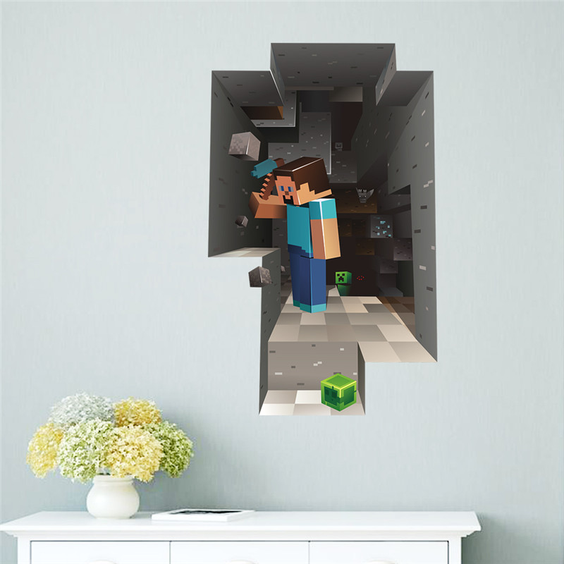 Cartoon Game Minecraft 3D Wall Stickers For Kids Rooms Mural Poster Home Decor Wall Decals Poster-in Wall Stickers from Home & Garden on Aliexpress.com | Alibaba Group