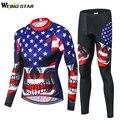 Мужская велосипедная одежда WEIMOSTAR USA Skull  комплект одежды для велоспорта с длинным рукавом и леггинсами  набор курток  3D гелевые плотные брюк...