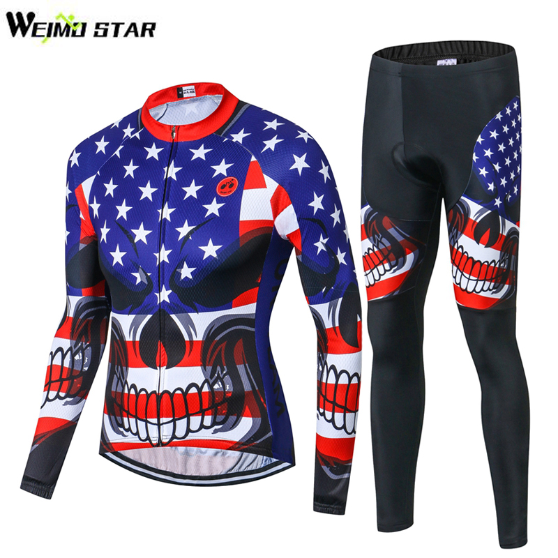 WEIMOSTAR USA Skull Mens Cycling Clothing Bike Bicycle Long Sleeve Jersey And Tights Pants Set Jacket 3D Gel Pad Tight Trouser
