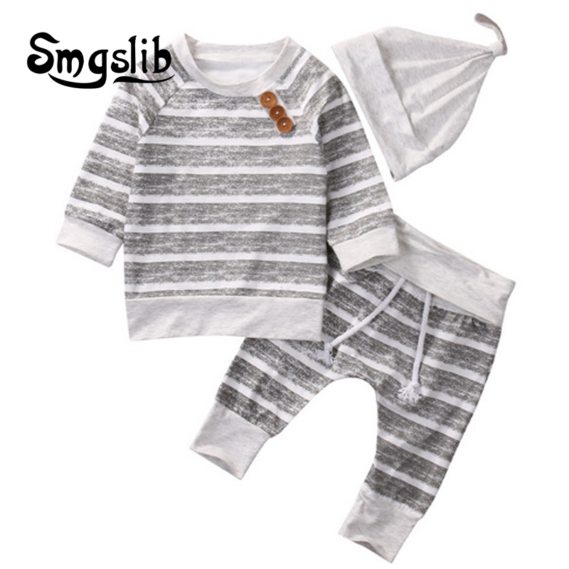 Infant 3pcs suit Newborn Baby Boys Girls Hooded Sweatshirt T-Shirt Tops+Striped Pants hat Kids toddler Outfits Clothes Set