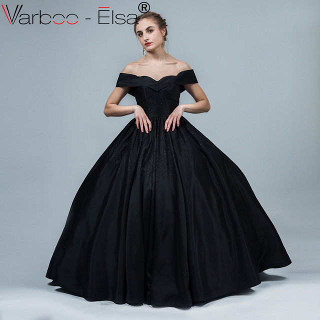 5fba318774ab VARBOO ELSA Sweetheart Sexy Off Shoulder Evening Dress Black Satin Crystal  Party Ball Gown 2018 Lady vestido