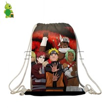 Anime Naturo Drawstring Bag Women Men Naruto Sasuke Printed Travel Shoulder Backpacks Boys Girls School Bags Cosplay Backpack(China)