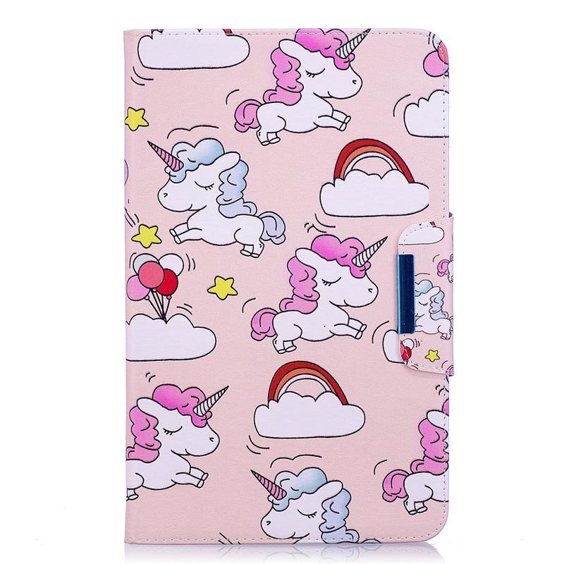 Case For Samsung Galaxy Tab A A6 10.1 2016 T585 T580 T580N T585N Cute Cartoon Flamingo Unicorn PU Flip Leather Cover Case