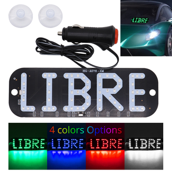 Taxi LED LIBRE Sign Light White Red Blue Green Car Windscreen Cab Indicator Inside Light Signal Rideshare Windshield Lamp 12V image