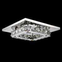 Practical 8 LED Crystal Flush Mount Modern Transparent Stainless Steel Ceiling Light Lamp