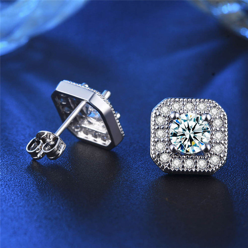 SHUANGR Jewelry Bright Square Imitation Zircon Wedding stud earrings silver  . 33fd12fd471d